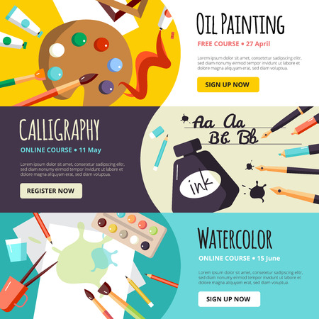 art and craft: Art and craft lessons banners for oil painting calligraphy and watercolor  vector illustration