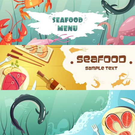 inhabitants: Color horizontal banners seafood menu with title depicting sea inhabitants and seafood meal vector illustration Illustration