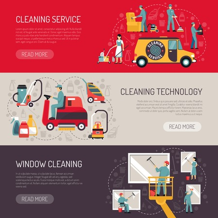 vacuum cleaning: Industrial facilities cleaning services information on technology and equipment 3 flat horizontal banners abstract isolated vector illustration