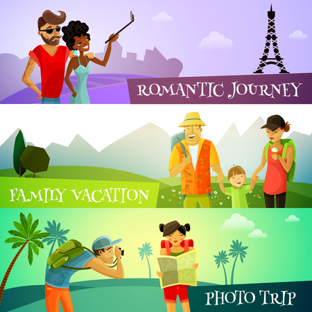family vacation: Traveling horizontal cartoon banners set with photo trip and family vacation symbols isolated vector illustration