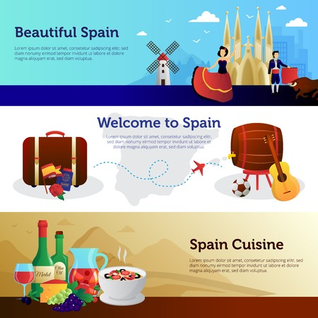 toreador: Welcome to spain informative colorful horizontal banners set for travelers with national food and landmarks vector illustration