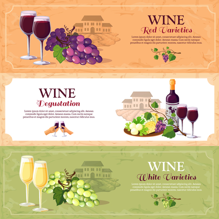 festival of the grape harvest: Wine horizontal banners set with red and white varieties and advertising of degustation hall flat vector illustration