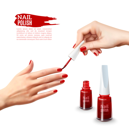 toenail: Perfect manicure tips realistic poster showing beautiful young lady hands with red polished nails abstract vector illustration Illustration
