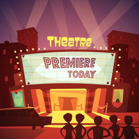 specs: Color cartoon illustration depicting entrance in theatre building to premiere show vector illustration