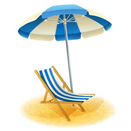 Chaise longue avec un parasol et plage de sable dans le vecteur de dessin animé illustration été