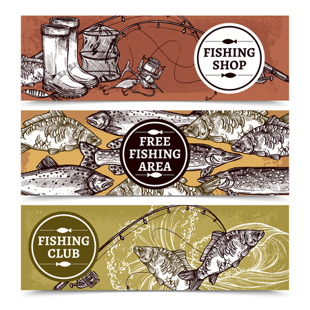 Hand drawn horizontal banners of fishing shop with equipment free fishing area with fishes and club vector illustration Иллюстрация