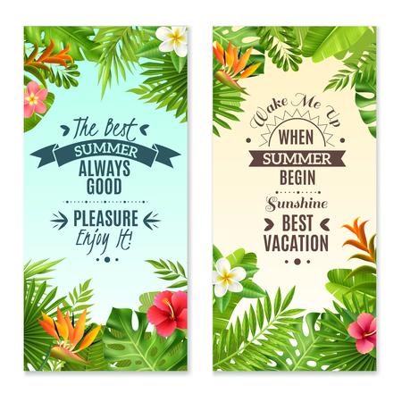 bird of paradise: Las vacaciones de verano en los bosques lluviosos tropicales 2 banderas verticales con ilustración vectorial plantas de hibisco y paraíso de las aves flores aisladas