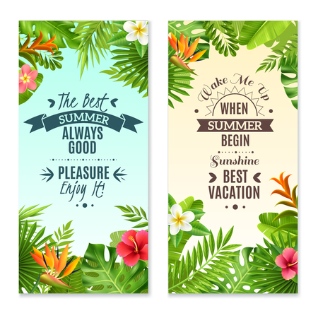 island paradise: Summer vacation in tropical rainforest 2 vertical banners with hibiscus and bird paradise plants flowers isolated vector illustration Illustration