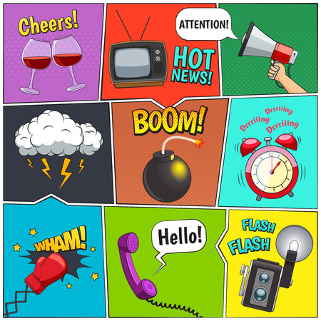 comicbook: Comic books retro design elements collection with alarm clock and thunderstorm clouds with speech bubbles vector illustration