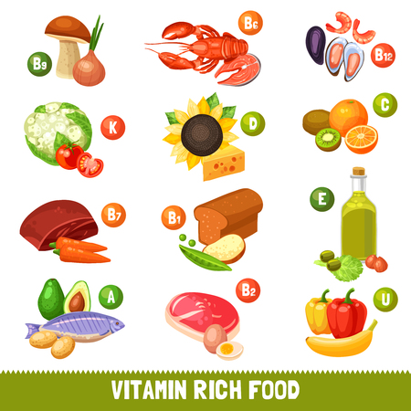 rich in vitamins: Icons set of different food products separated by main vitamins groups flat isolated vector illustration Illustration