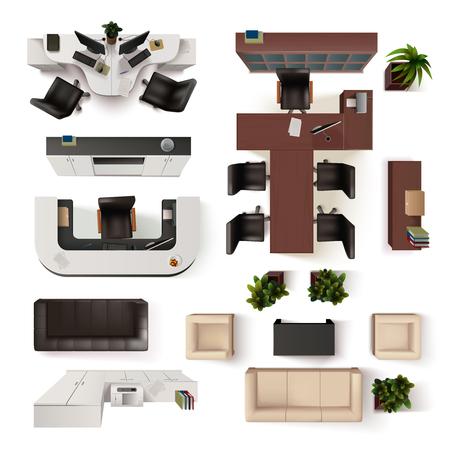 견해: 사무실 인테리어 요소의 컬렉션입니다. 사무실 인테리어 벡터 일러스트 레이 션. 사무실 인테리어 장식을 설정합니다. 사무실 인테리어 디자인 Set.Offic
