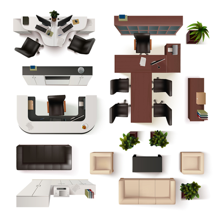 view: Office Interior  Elements Collection. Office Interior Vector Illustration. Office Interior Decorative Set.  Office Interior Design Set.Office Interior  Realistic Isolated Set. Office Interior Top View.