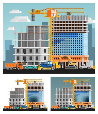 orthogonal: Block of flats construction and city orthogonal compositions set flat isolated vector illustration Illustration
