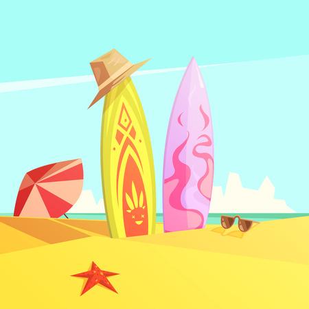serf: Retro cartoon color illustration couple of bright serf on sand beach vector illustration