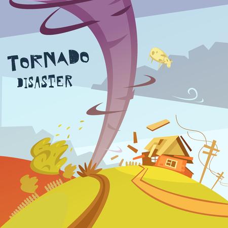 hurricane weather: Color cartoon illustration tornado disaster depicting broken house vector illustration