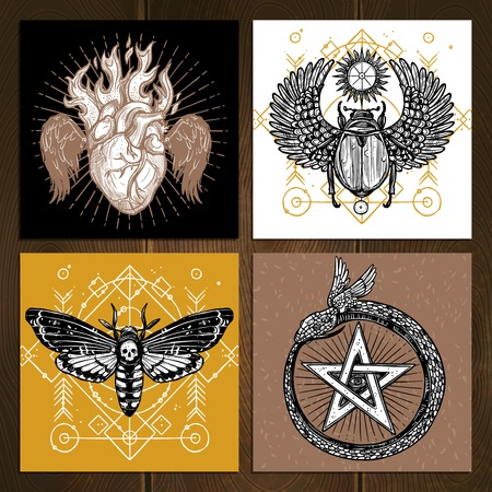 occult: Insects Occult Tattoo Sketch Concept. Occult Tattoo Hand Drawn Set. Magic Tattoo Vector Illustration. Magic Occult Tattoo Symbols. Magic Occult Tattoo Design Set.