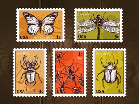 Conjunto de sellos de correos con los insectos dibujados en el estilo de dibujo sobre fondo de madera ilustración vectorial del cartel