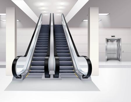 lift up: Up and down escalator inside building with lift interior realistic concept vector illustration