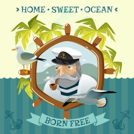 uninhabited: Nautical poster with old sailor smoking pipe helm sea and palm trees on uninhabited island flat vector illustration