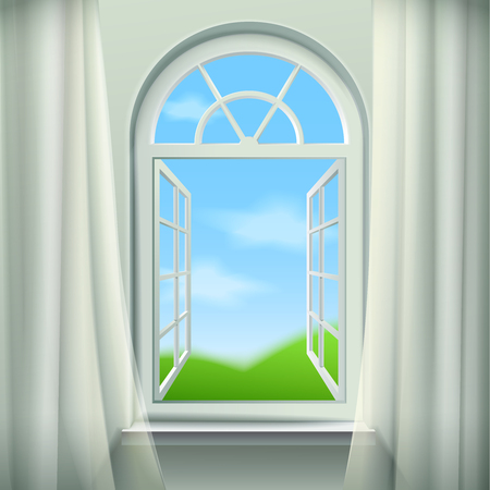 arched: Open Arched Window  Background. Open Arched Window Vector Illustration. Open Arched Window Design. Arched Window Realistic  Decorative Illustration.