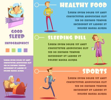 reason: Color infographic depicting reason of good sleep healthy food sleeping pill sports vector illustration Illustration