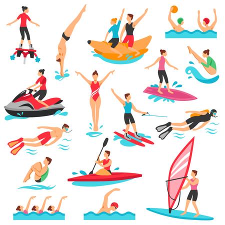 물 스포츠 아이콘을 설정합니다. 물 스포츠 벡터 일러스트 레이 션입니다. 물 스포츠 장식 세트입니다. 수상 스포츠 디자인 설정합니다. 물 스포츠 플 일러스트