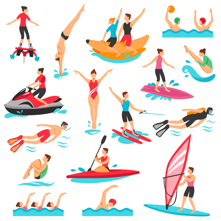 Water Sport Icons Set. Water Sport Vector Illustration. Water Sport Decorative Set.  Water Sport Design Set. Water Sport Flat Isolated Set. Çizim