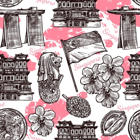 singaporean flag: Singapore hand drawn sketch seamless pattern with orchid traditional food flag and famous architecture vector illustration