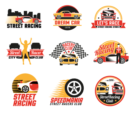 checkered: Street racing clubs labels emblems collection with dream car golden girl figure and checkered flags isolated vector illustration
