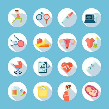 medical symbols: Pregnancy round shadow icons set with medical care symbols on blue  background flat isolated vector illustration