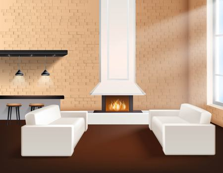 loft interior: Realistic loft interior in minimalistic style concept with two sofas cupboards and fireplace vector illustration