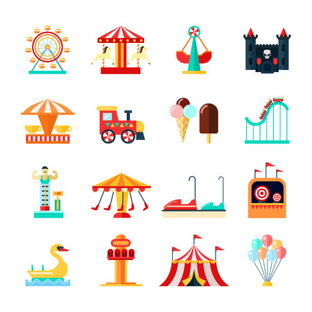 flying boat: Amusement park for children with attractions icons set flat isolated vector illustration