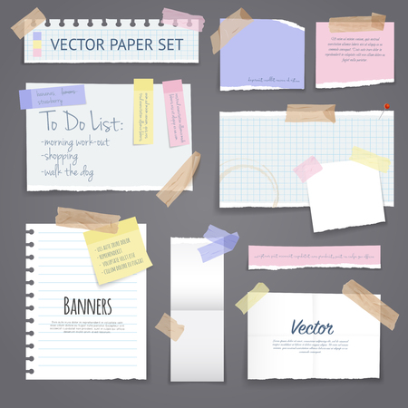 Papier banners met notities set bevestigd met kleverige kleurrijke tape op geïsoleerde grijze achtergrond realistische vector illustratie