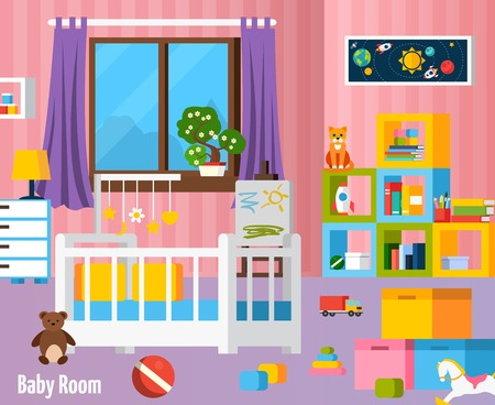 nursery room: Baby room flat colorful composition with  nursery furniture toys cradle and elements for children creativity vector illustration