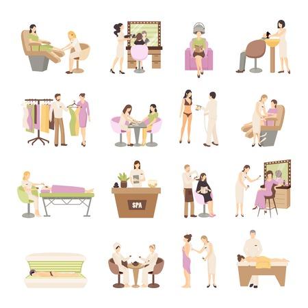 Mensen in de spa salon en diverse schoonheidsbehandelingen procedures op een witte achtergrond geïsoleerde flat vector illustratie Stockfoto - 58756467