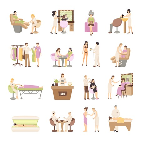 People in spa salon and various beauty procedures on white background isolated flat vector illustration Çizim