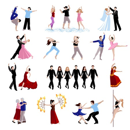 pole dance: Dancing various styles of dance people of different ages in costumes flat icons set isolated vector illustration