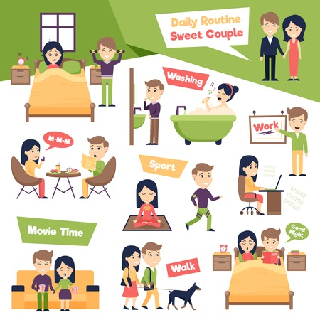 Cartel con las imágenes de las personas que figuran rutina diaria que presentan día ordinario de ilustración vectorial de dibujos animados dulce pareja