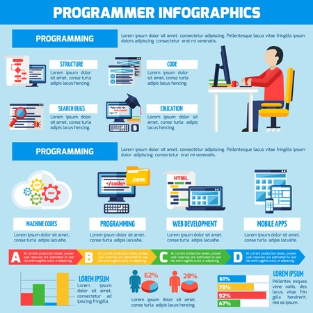 ide: Programmer infographics flat layout with professional education presentation and information about  programming for mobile  apps and web services vector illustration