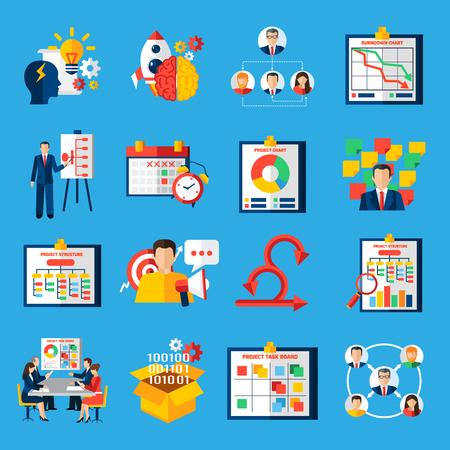 Scrum symbole metodologii Agile ramy rozwoju zarządzania złożonymi projektami płaskie ikony kolekcji streszczenie pojedyncze grafiki illustratin Ilustracje wektorowe