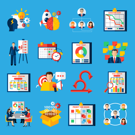 Scrum agile development framework methodology symbols  for managing complex projects flat icons collection abstract isolated vector illustratin Illustration