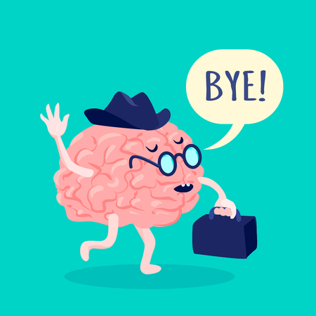 bye: Brain in hat and glasses saying bye with suitcase flat vector illustration