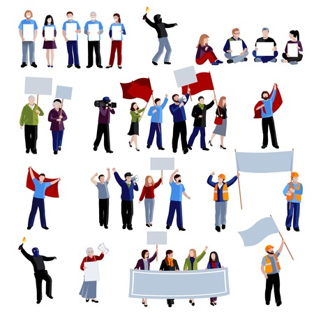 placards: Demonstration protest people holding megaphones flags and placards on white background flat isolated vector illustration