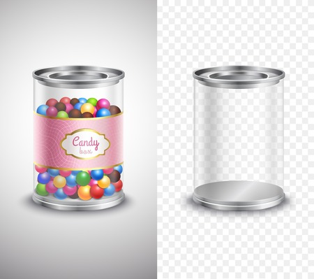 candy box: Vertical product package design of candy box with sweets and label and empty box banners on grey and plaid background realistic isolated vector illustration Illustration
