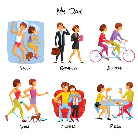 Lifestyle-Ikonen eingestellt. Lifestyle Vektor-Illustration. Tägliche Routine Cartoon-Symbole. Typischer Tag Design Set. Tägliche Routine isoliert Set.