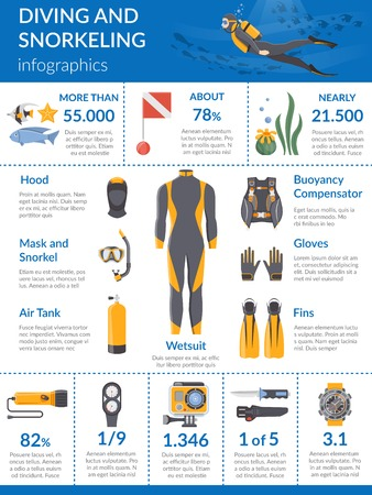 buoyancy: Diving and snorkeling infographics layout with presentation equipment such as wetsuit buoyancy compensator oxygen tanks flat vector illustration