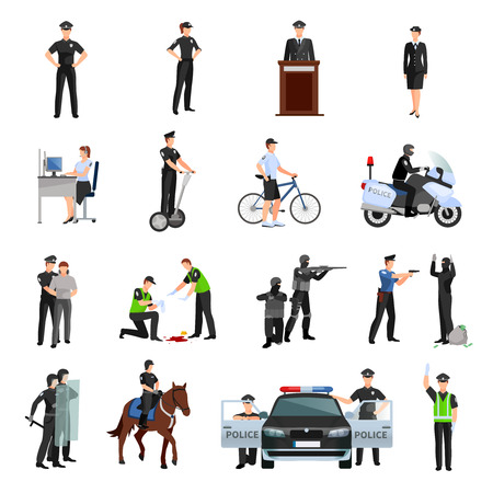 cop: Police people in office and outside flat color icons set with traffic policeman criminalists dispatcher mounted police isolated vector illustration