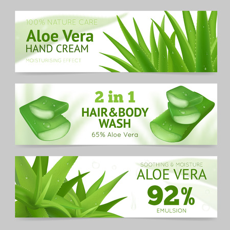 aloe vera plant: Horizontal sliced and whole aloe vera leaves banners presenting natural hand cream hair and body wash and emulsion