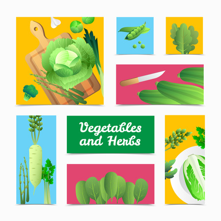 organically: Fresh organically grown green vegetables icons banners and culinary  headers composition colorful background poster isolated vector illustration