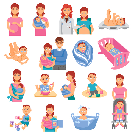 Parents and baby flat icons set with mother and father isolated vector illustration